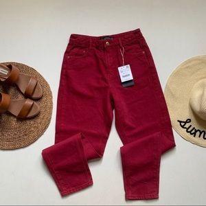 Zara | NWT Red Denim Mom Jeans
